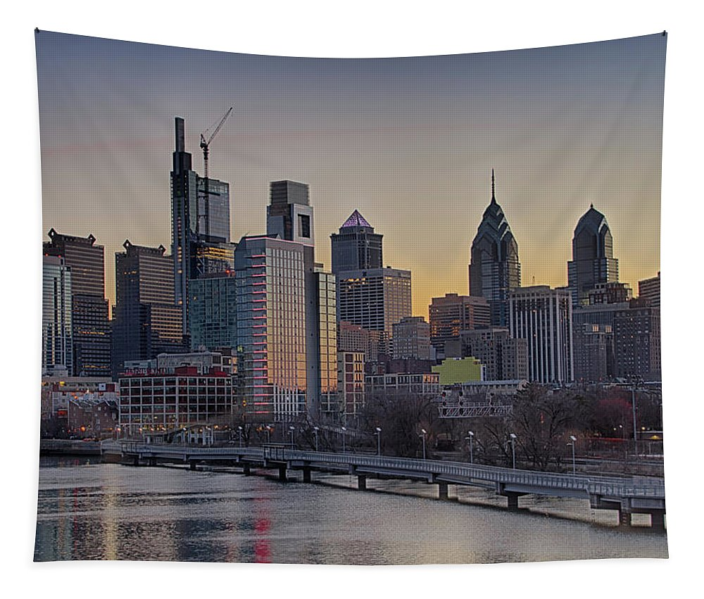 Philly Tapestry featuring the photograph Philly Before Dawn From South Street by Bill Cannon