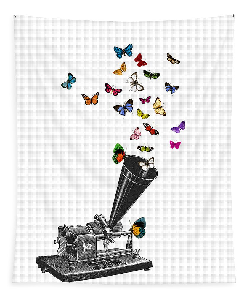 Phonograph Tapestry featuring the digital art Phonograph And Butterflies Print by Madame Memento