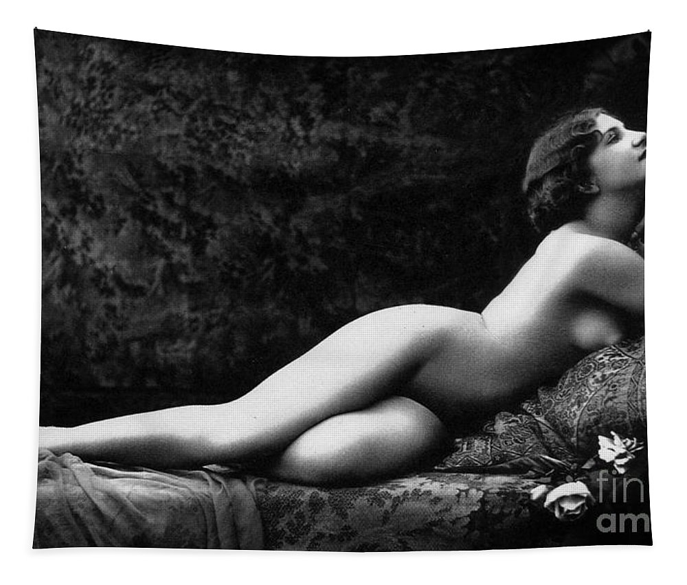 Laying Tapestry featuring the photograph Photo Erotique D'une Femme Nue by French School