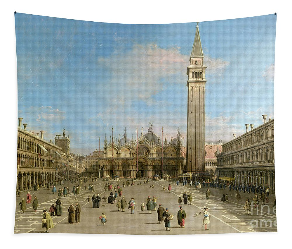 Canaletto Tapestry featuring the painting Piazza San Marco Looking Towards The Basilica Di San Marco by Canaletto