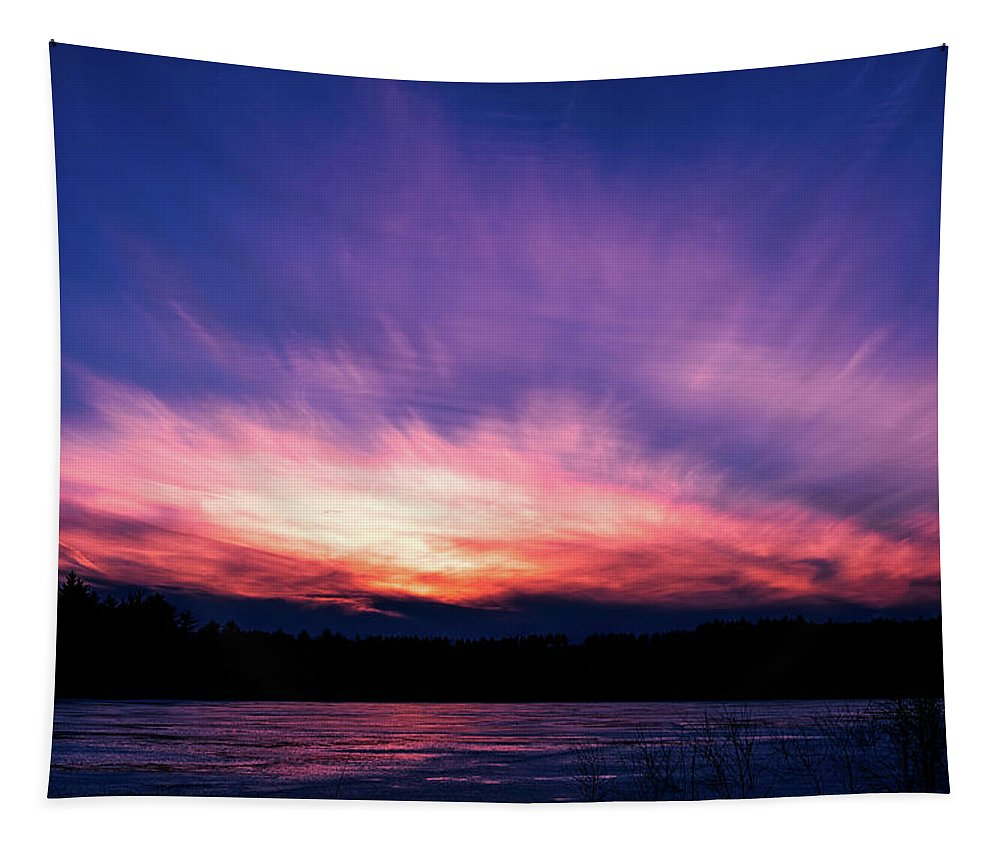 Sunset Tapestry featuring the photograph Pickerel Lake by Scott Norris