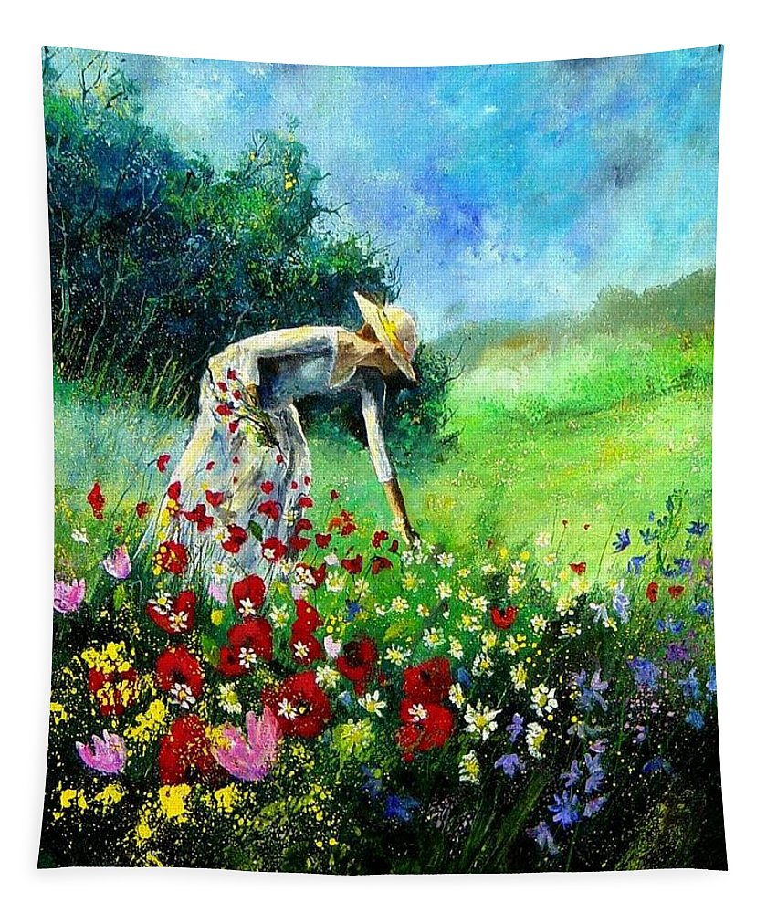 Poppies Tapestry featuring the painting Picking Flower by Pol Ledent