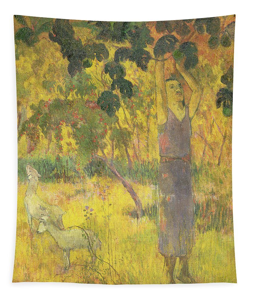 Man Picking Fruit From A Tree Tapestry featuring the painting Picking Fruit From A Tree by Paul Gauguin