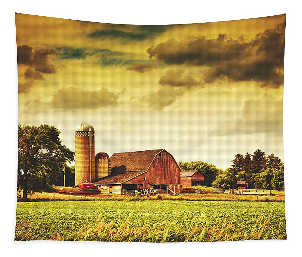 Farm Tapestry featuring the photograph Picturesque North Dakota Farm by Library Of Congress