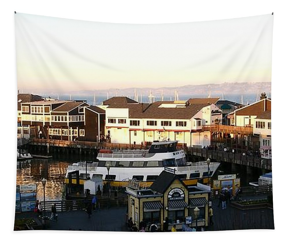 Panorama Tapestry featuring the photograph Pier 39 Panorama by Carol Groenen