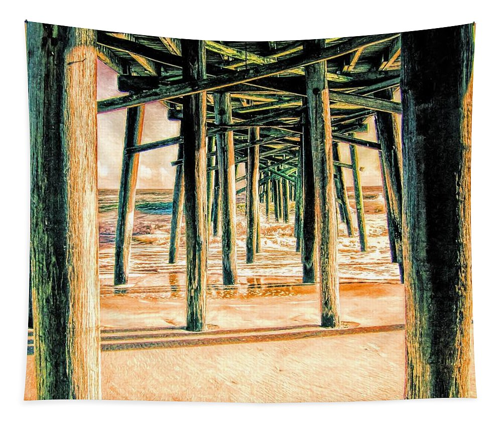Alicegipsonphotographs Tapestry featuring the photograph Pier Crisscross by Alice Gipson