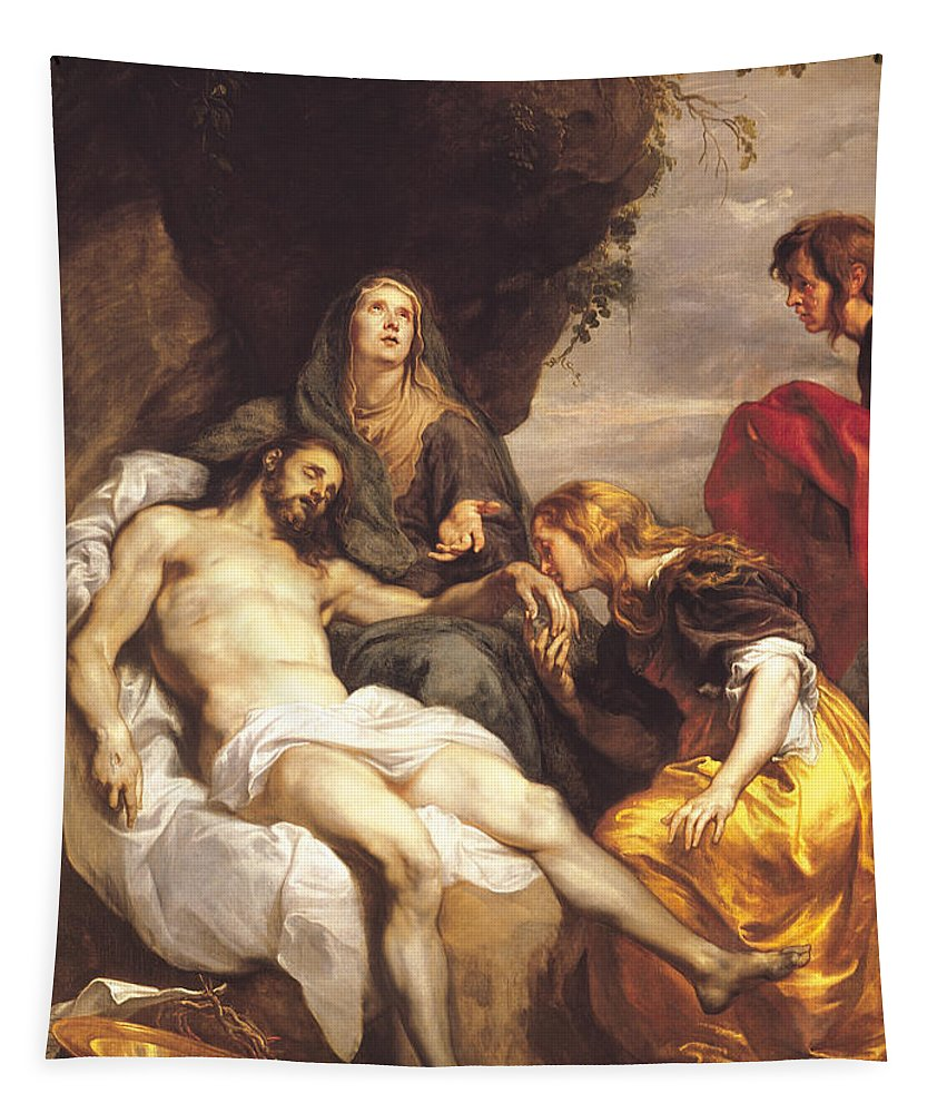 Pieta Tapestry featuring the painting Pieta by Sir Anthony van Dyck