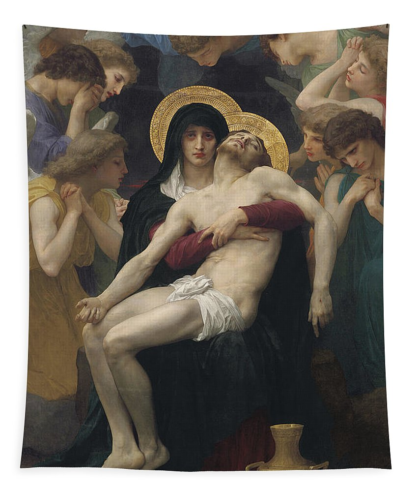 Pieta Tapestry featuring the painting Pieta by William-Adolphe Bouguereau