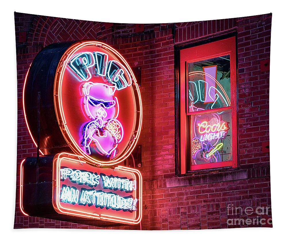 Bar Tapestry featuring the photograph Pig With Attitude by Jerry Fornarotto