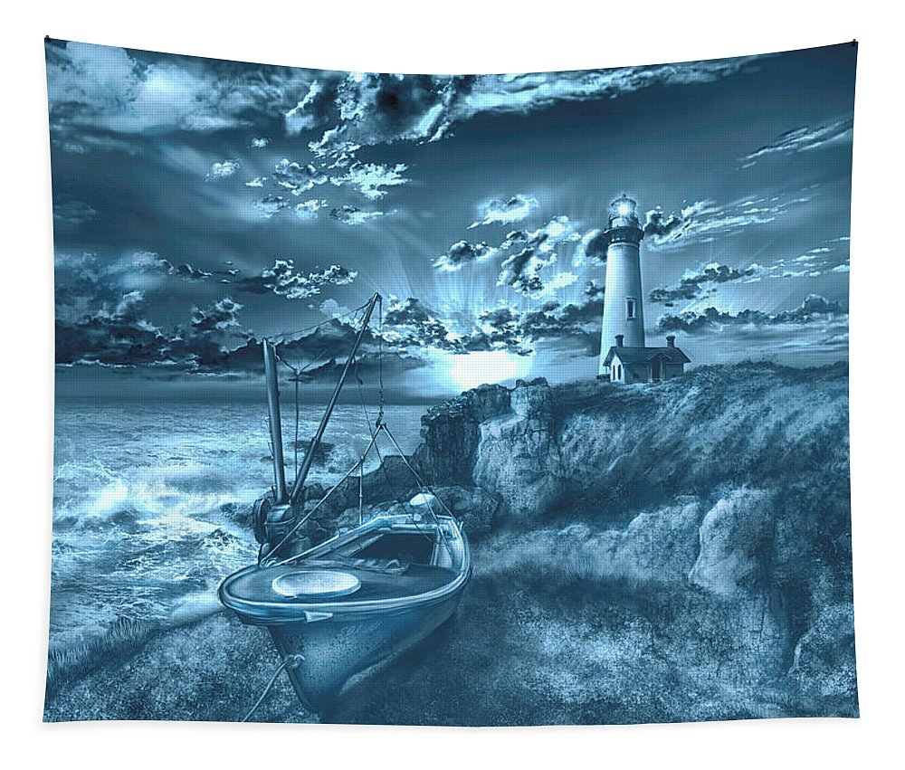 Lighthouse Tapestry featuring the painting Pigeon Point Lighthouse 2 by Bekim M