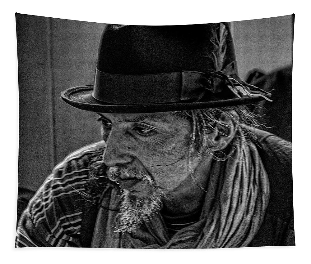 Black And White Tapestry featuring the photograph Pike Place Vendor by David Patterson