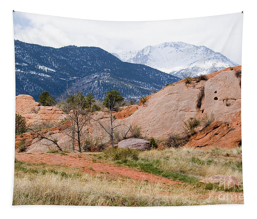 Pikes Peak Tapestry featuring the photograph Pikes Peak From Red Rock Canyon by Steve Krull