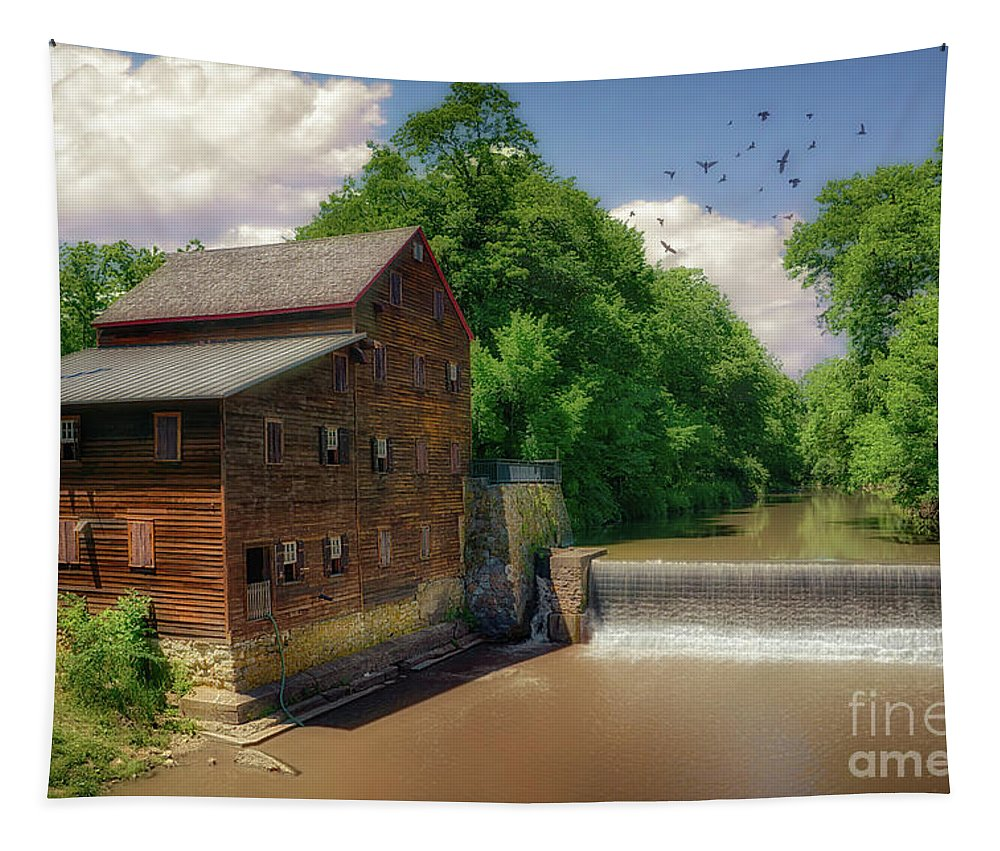 Pine Creek Gristmill Tapestry featuring the photograph Pine Creek Gristmill by Priscilla Burgers