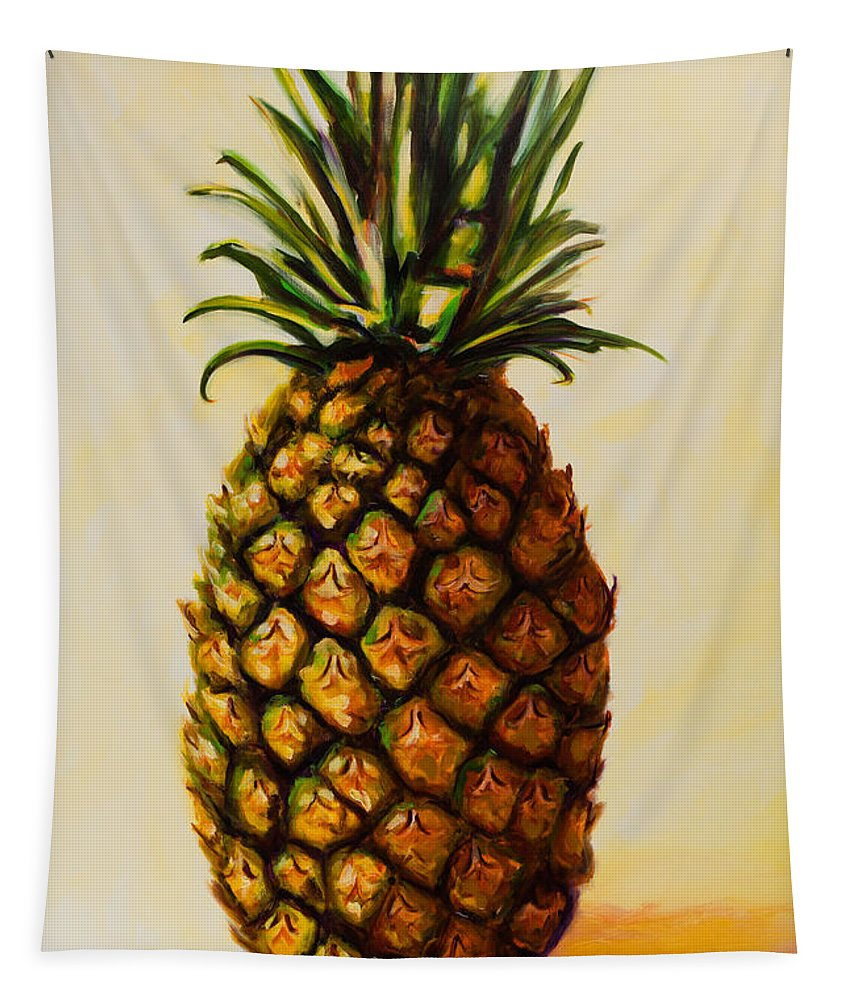 Pineapple Tapestry featuring the painting Pineapple Angel by Shannon Grissom
