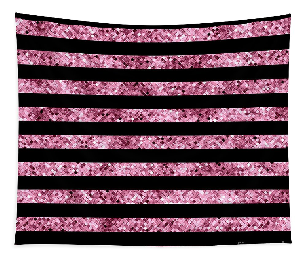 Pink And Black Tapestry featuring the photograph Pink And Black Glitter Sequin Stripes by Leah McPhail