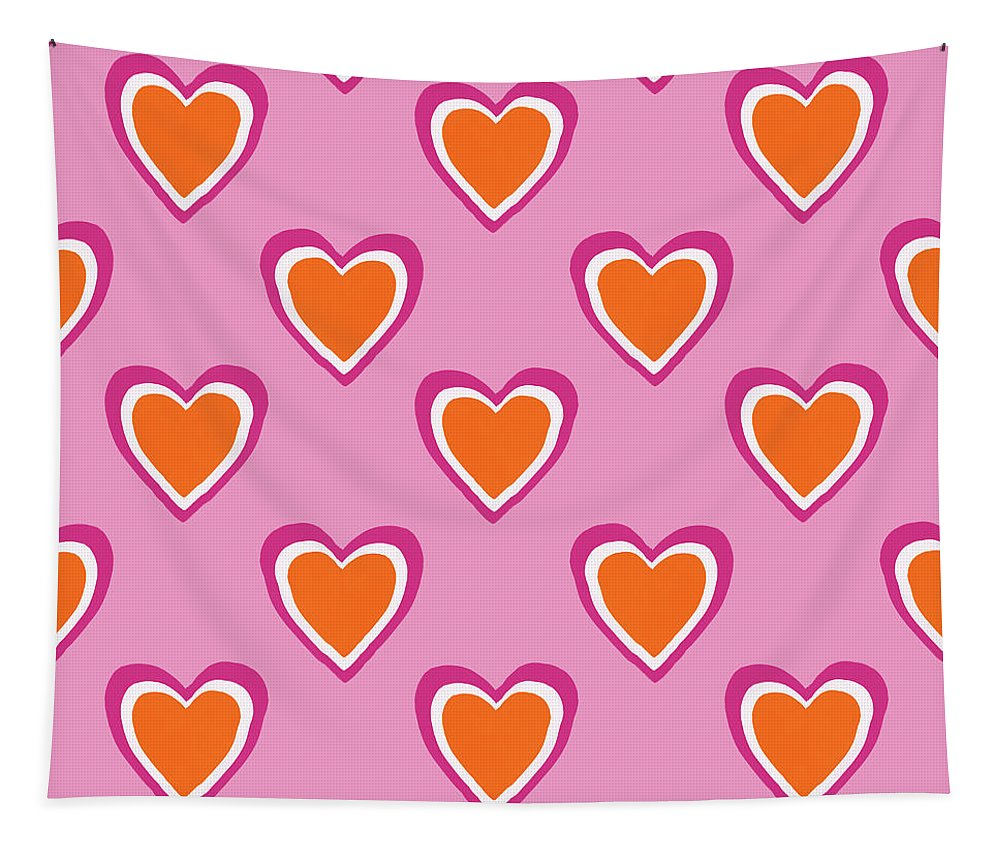 Hearts Tapestry featuring the mixed media Pink And Orange Hearts- Art By Linda Woods by Linda Woods