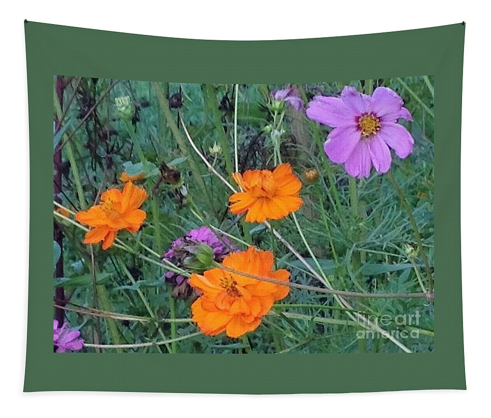 Pink Tapestry featuring the photograph Pink And Orange Merger by Debra Lynch