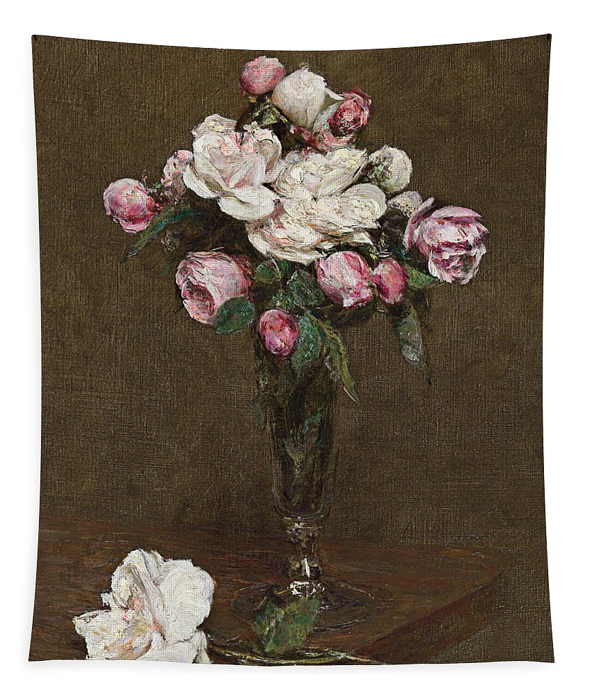 Ignace Henri Jean Fantin-latour Tapestry featuring the painting Pink And White Roses In A Champagne Flute by Ignace Henri Jean Fantin-Latour