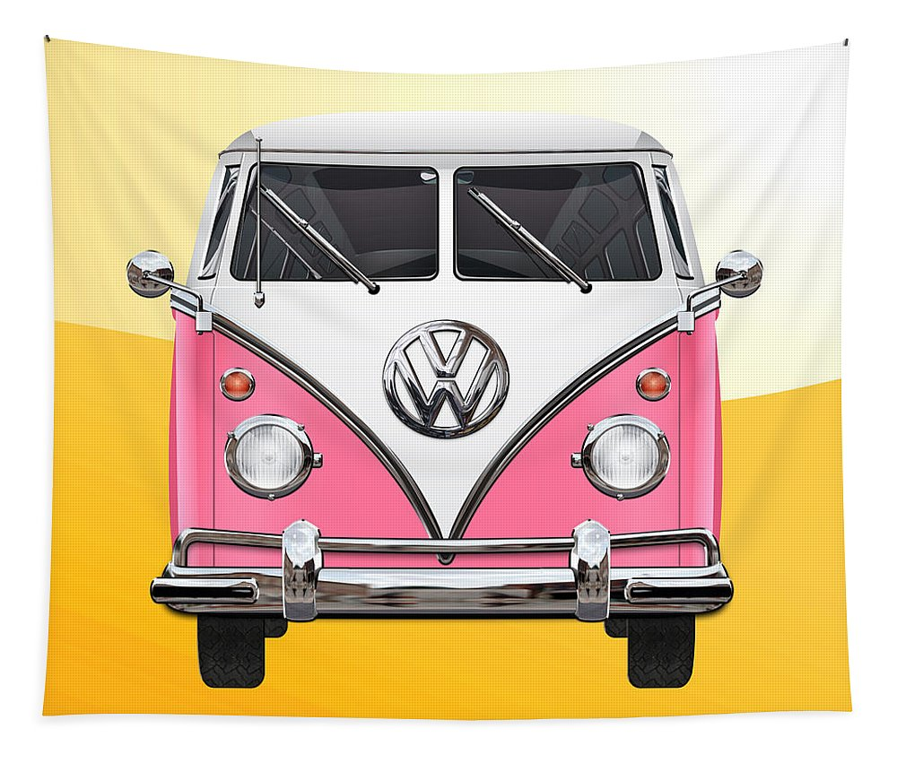 'volkswagen Type 2' Collection By Serge Averbukh Tapestry featuring the photograph Pink And White Volkswagen T 1 Samba Bus On Yellow by Serge Averbukh