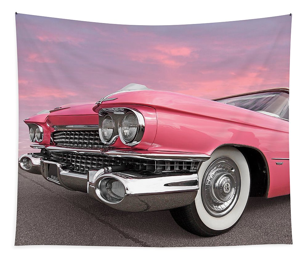 Cadillac Tapestry featuring the photograph Pink Cadillac Sunset by Gill Billington