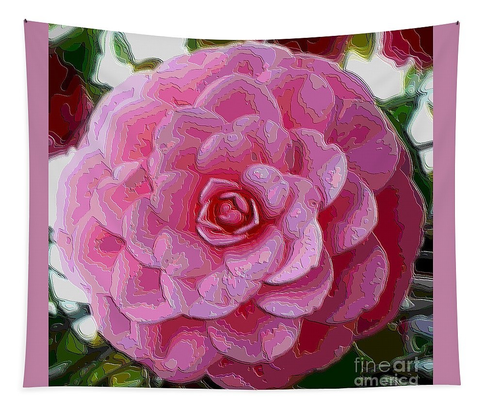 Pink Flower Tapestry featuring the photograph Pink Camellia Dream by Carol Groenen