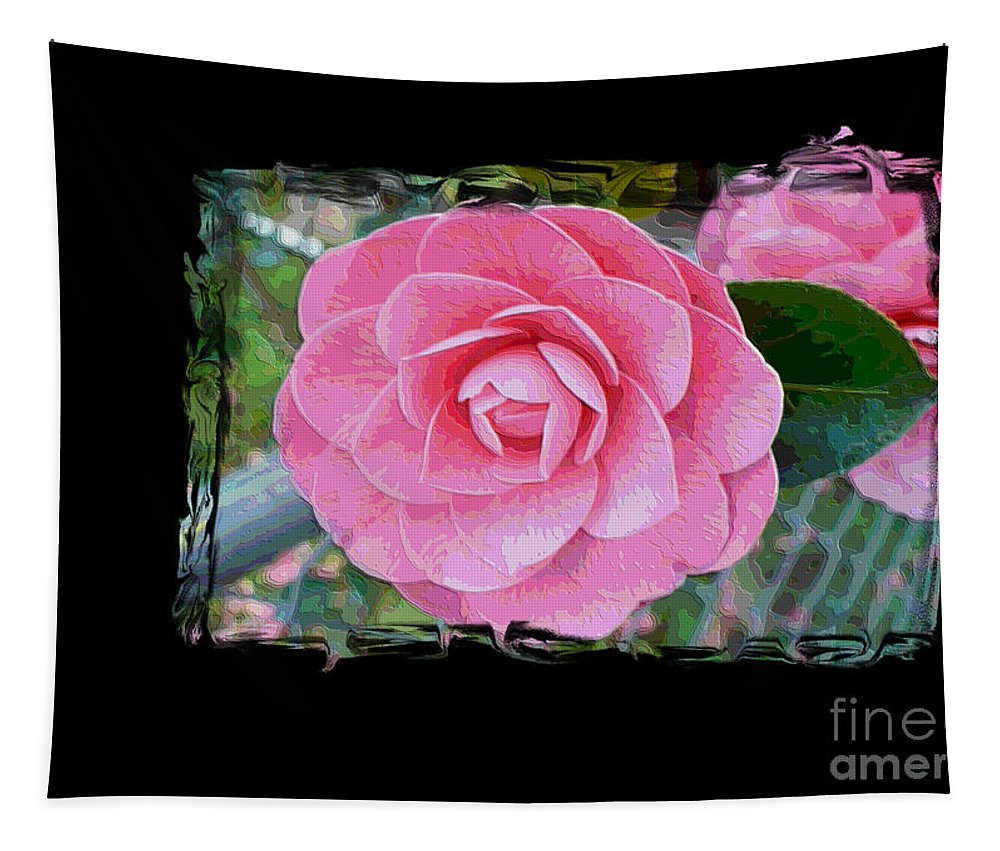 Pink Camelllias Tapestry featuring the photograph Pink Camellias With Fence And Framing by Carol Groenen