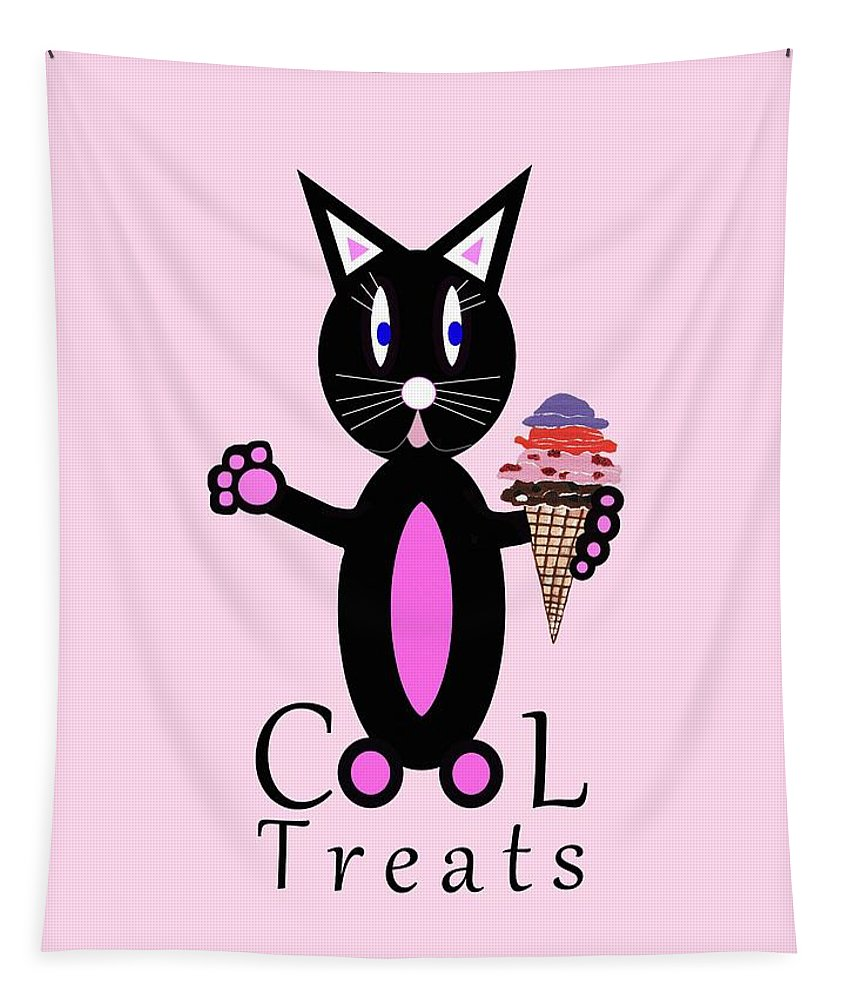 Cat Art Tapestry featuring the mixed media Pink Cool Treats - Cat Typography by Kathleen Sartoris