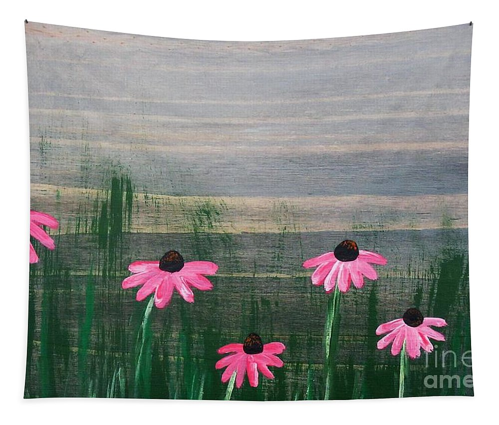 Pink Tapestry featuring the painting Pink Echinacea by Lyssjart Sj