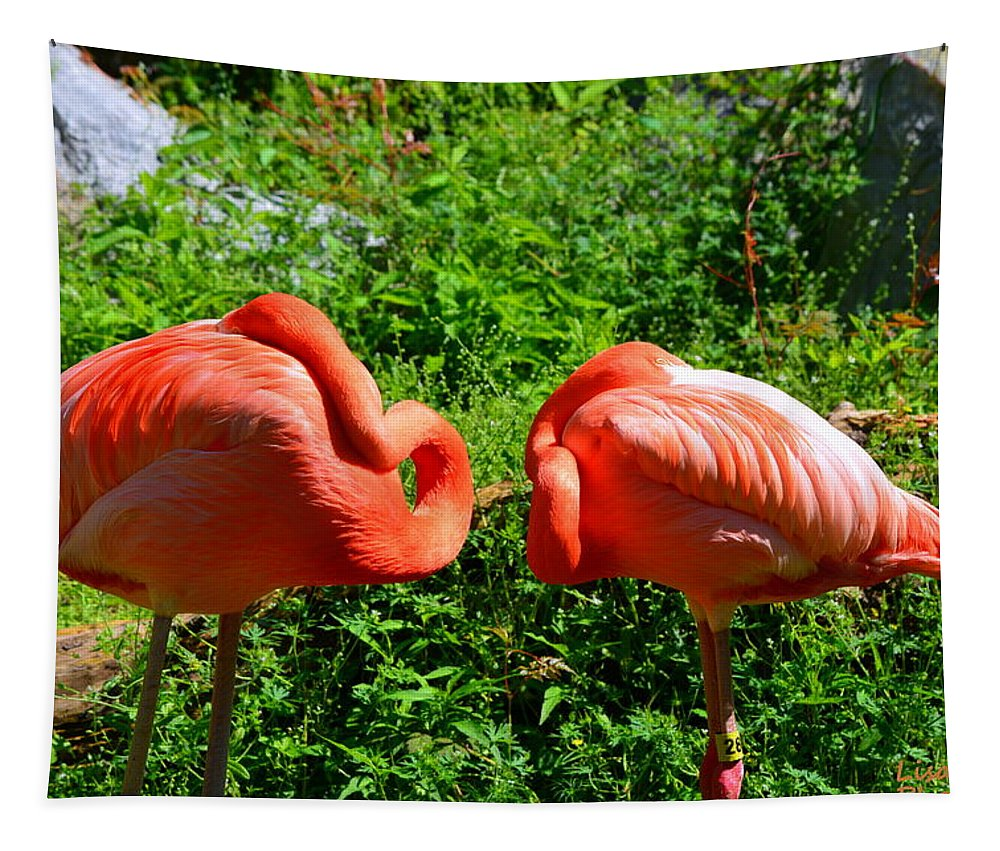 Pink Flamingos Tapestry featuring the photograph Pink Flamingos by Lisa Wooten