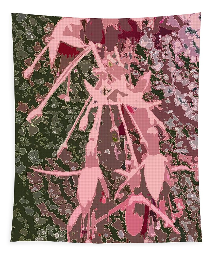 Pink Tapestry featuring the photograph Pink Fuschia Against Tree Bark by Barbie Corbett-Newmin