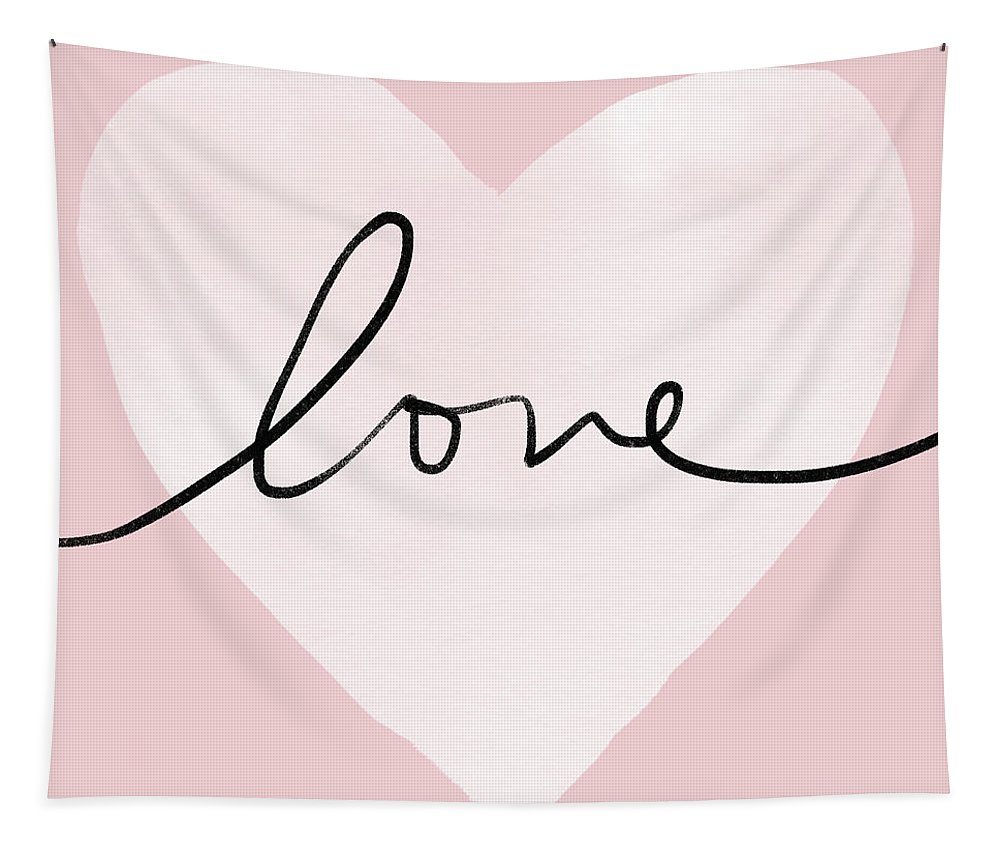 Love Tapestry featuring the digital art Pink Heart Love- Art By Linda Woods by Linda Woods