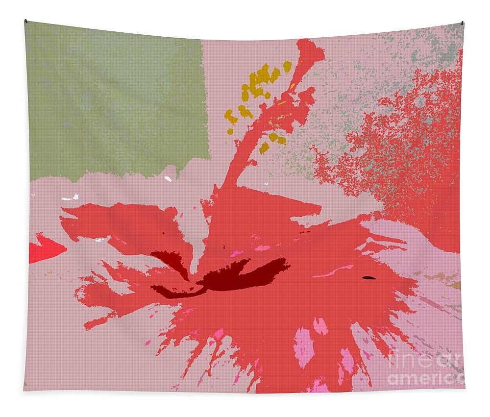 Flower Tapestry featuring the photograph Pink Hibiscus Abstract by Barbie Corbett-Newmin