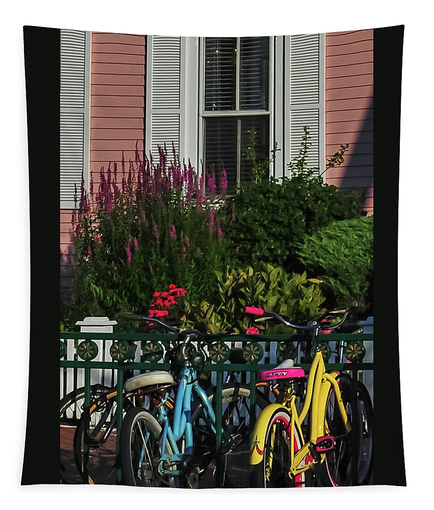 Terry D Photography Tapestry featuring the photograph Pink House Bikes Cape May Nj by Terry DeLuco