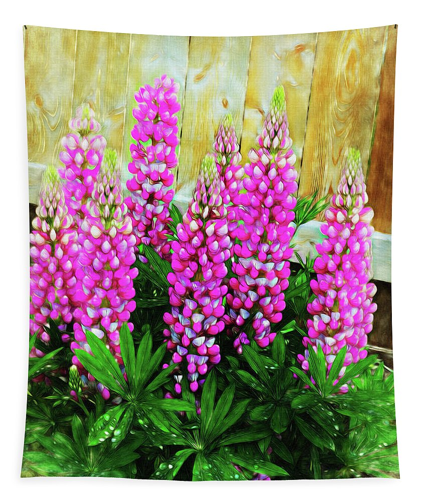 Green Tapestry featuring the photograph Pink Lupine by Leslie Montgomery