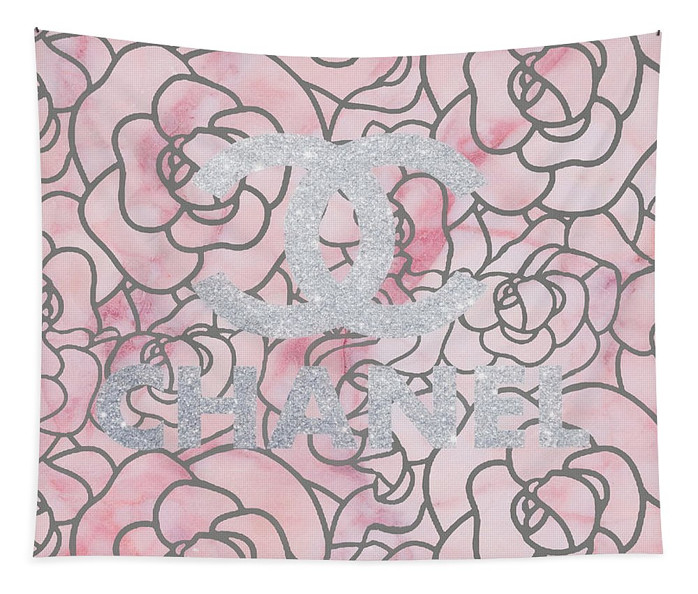 Pink Marble Chanel Tapestry featuring the mixed media Pink Marble Chanel by Dan Sproul