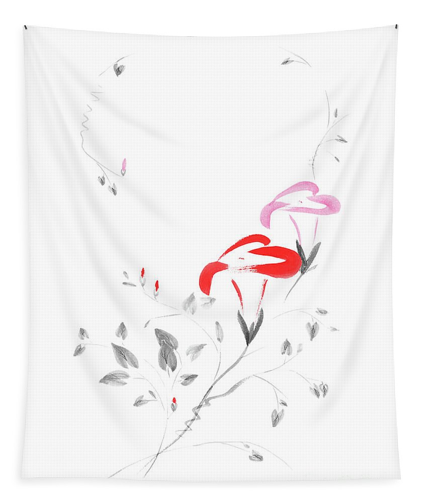 Flower Tapestry featuring the mixed media Pink Morning Glory Flowers Sumi-e Illustration Artistic Design O by Awen Fine Art Prints