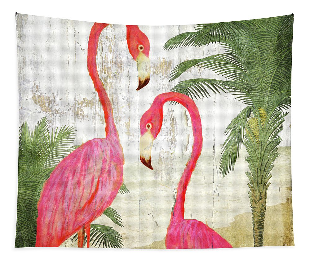 Flamingo Tapestry featuring the painting Pink Paradise by Mindy Sommers
