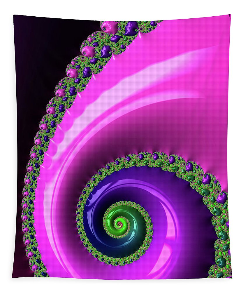 Spiral Tapestry featuring the photograph Pink Purple And Green Fractal Spiral by Matthias Hauser
