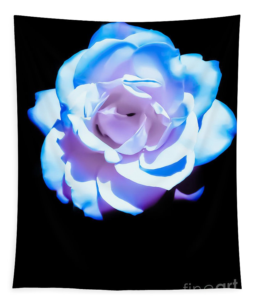 Pink Tapestry featuring the photograph Pink Rose Has The Blues by Heather Joyce Morrill
