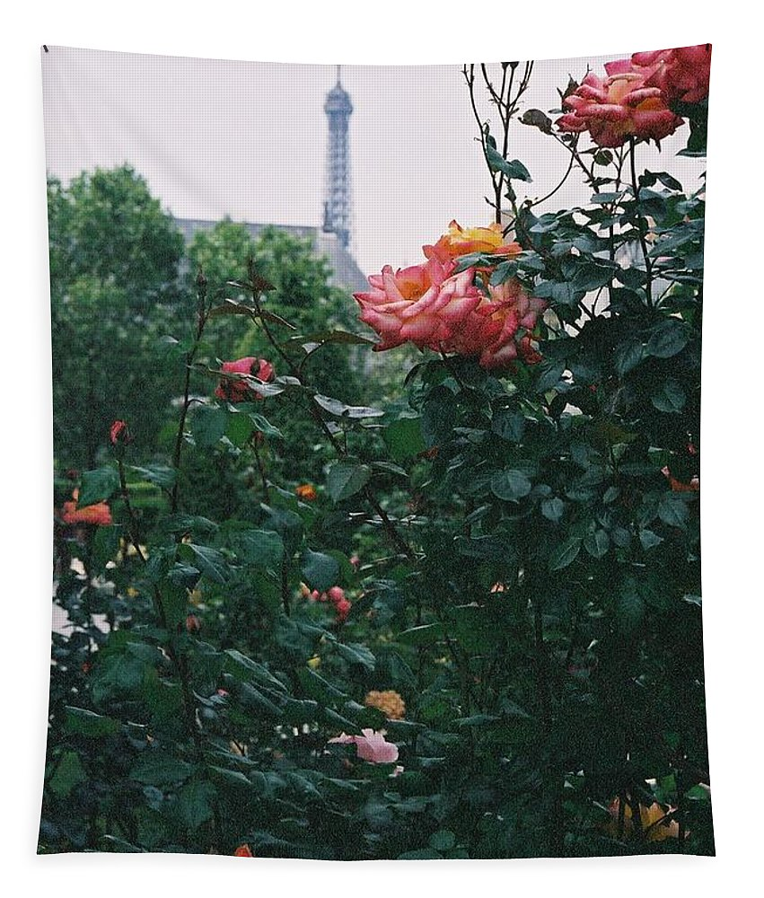 Roses Tapestry featuring the photograph Pink Roses and The Eiffel Tower by Nadine Rippelmeyer