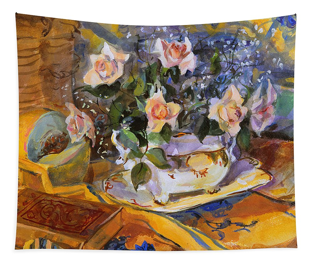 Still-life Tapestry featuring the painting Pink Roses In Gaye's Dish by Sue Wales