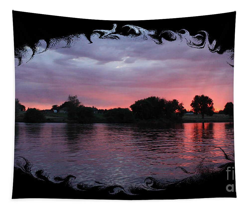 Sunset Tapestry featuring the photograph Pink Sunset Panorama With Black Framing by Carol Groenen