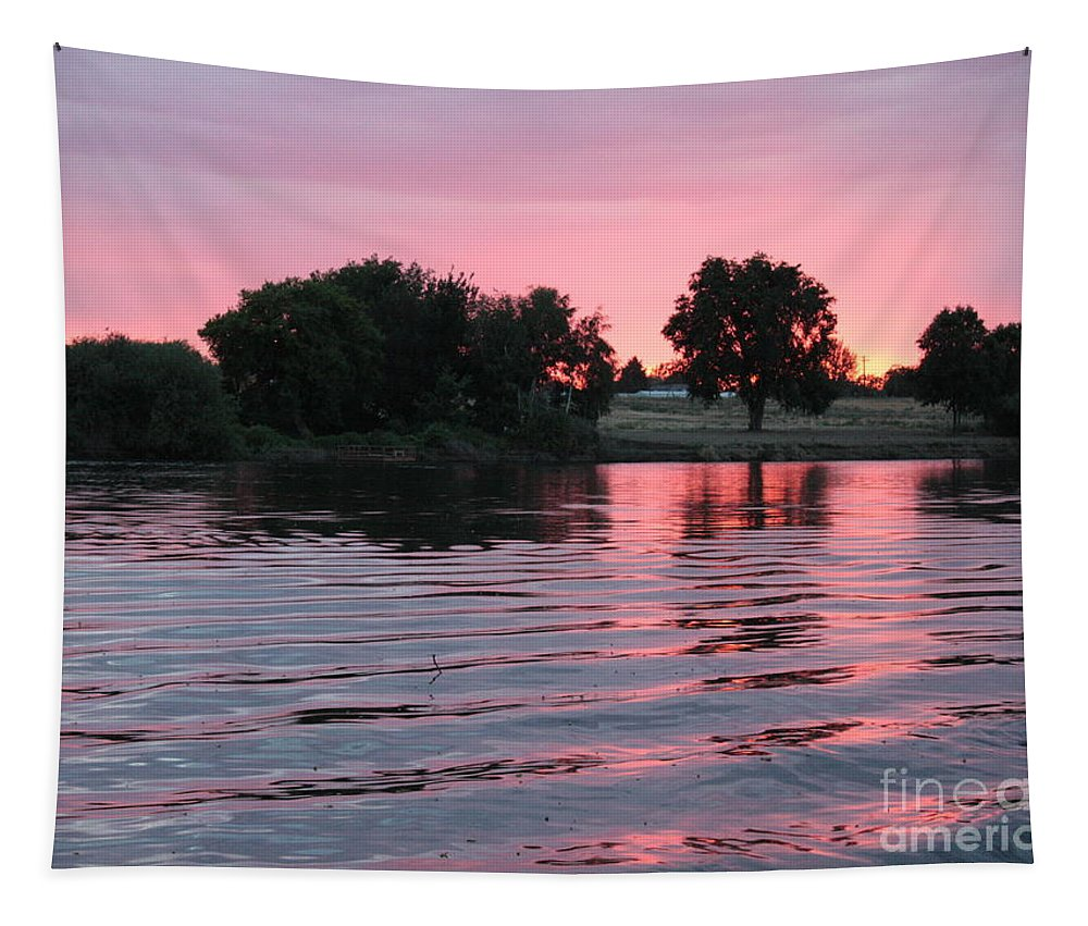 Sunset Tapestry featuring the photograph Pink Sunset With Soft Waves by Carol Groenen