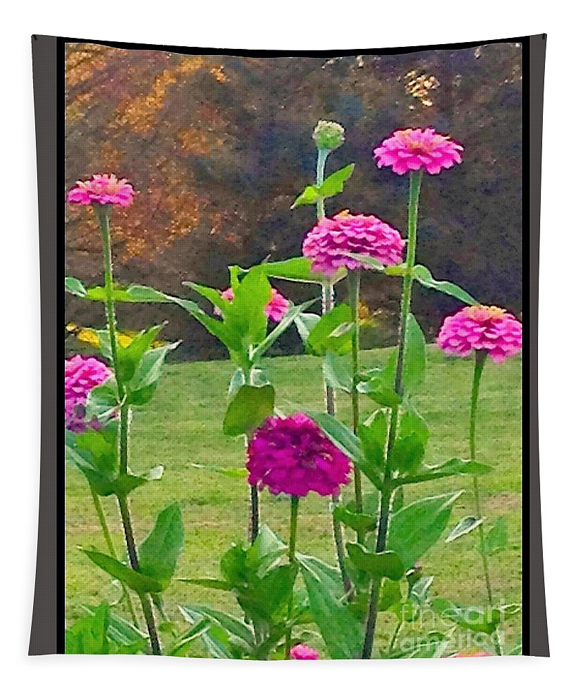 Nature Tapestry featuring the photograph Pink Tall Zinnia's by Debra Lynch