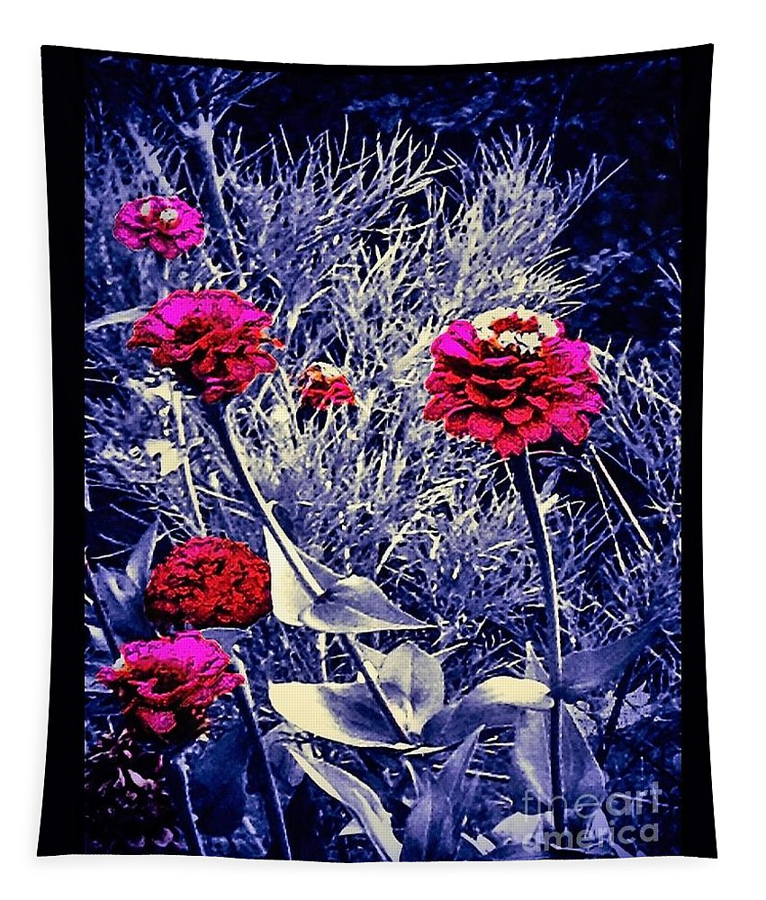 Pink Tapestry featuring the photograph Pink Zinnia's Against A Silver Background by Debra Lynch