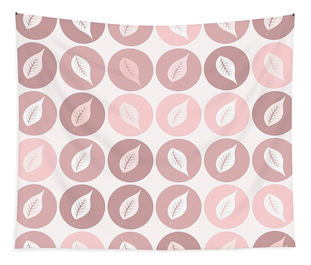 Pattern Tapestry featuring the digital art Pinkish Leaves by Gaspar Avila