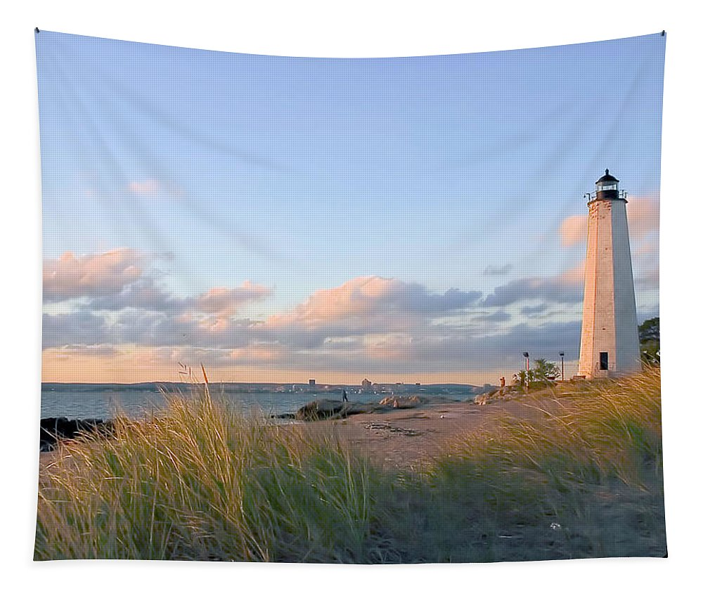 Lighthouse Tapestry featuring the photograph Pinkish Lighthouse by Karol Livote