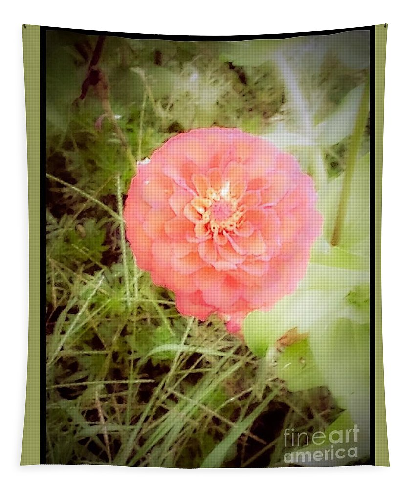 Flower Tapestry featuring the photograph Pinkish Orange Zinnia On Green Background by Debra Lynch
