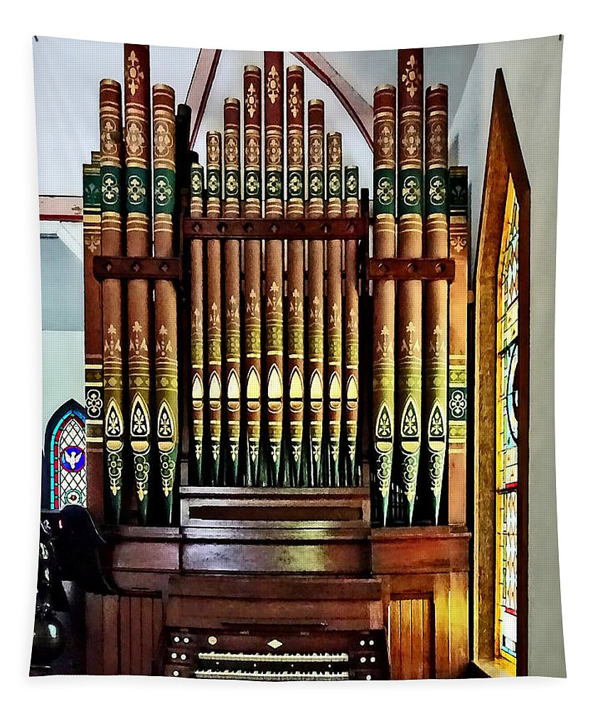 Organ Tapestry featuring the photograph Pipe Organ In Church by Susan Savad