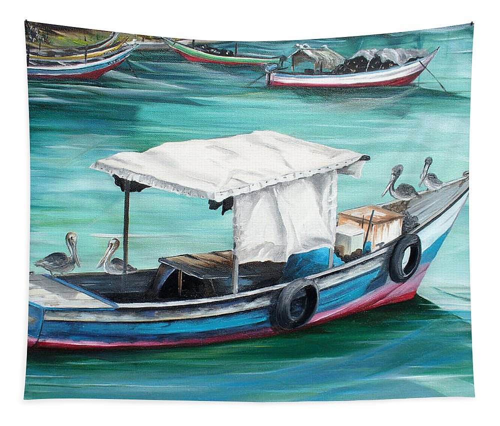 Fishing Boat Painting Seascape Ocean Painting Pelican Painting Boat Painting Caribbean Painting Pirogue Oil Fishing Boat Trinidad And Tobago Tapestry featuring the painting Pirogue Fishing Boat by Karin Dawn Kelshall- Best